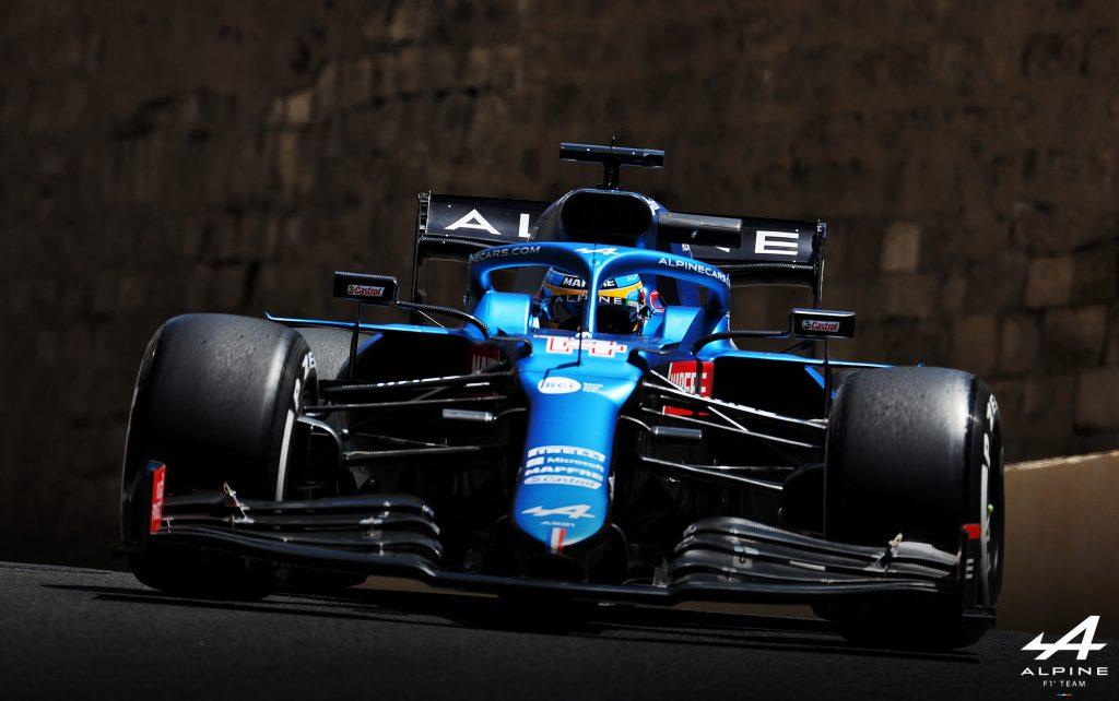 Fernando Alonso's Alpine F1 car at the 2021 Azerbaijan Grand Prix.