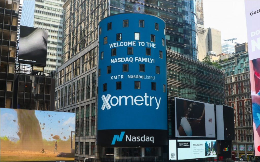 A message from NASDAQ welcoming Xometry to its stock exchange.