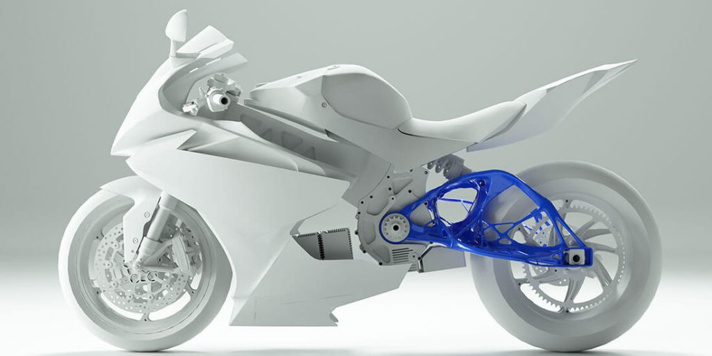 Generatively designed motorcycle components can be optimized for weight and strength at the same time. Image via Autodesk.