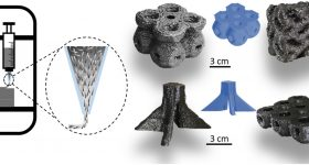Graphite structures 3D printed via direct ink writing. Image via Rice University.