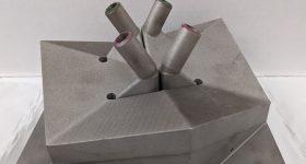 GE Research's 3D printed heat exchanger prototype.