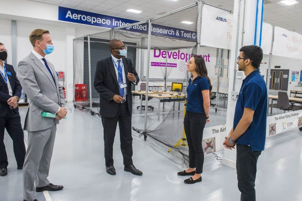Airbus' new £40m facility was opened by the UK's secretary of state for business, energy and industrial strategy Kwasi Kwarteng (pictured). Photo via PES Media.