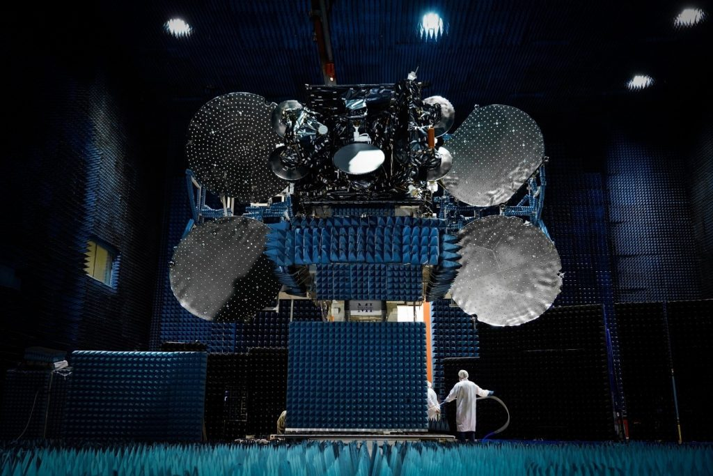 A Maxar satellite with components 3D printed by Zenith Tecnica. Photo via Maxar Technologies.