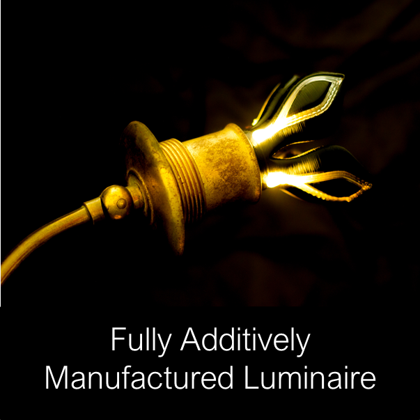 Fully additively manufactured luminaire as part of the Penta project. Image via Neotech AMT.