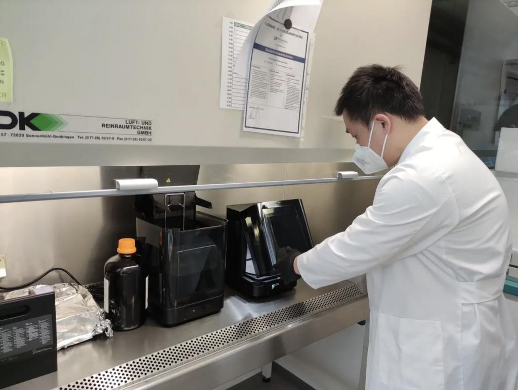 A Form 3 3D printer installed at Pixel Bio's R&D lab.
