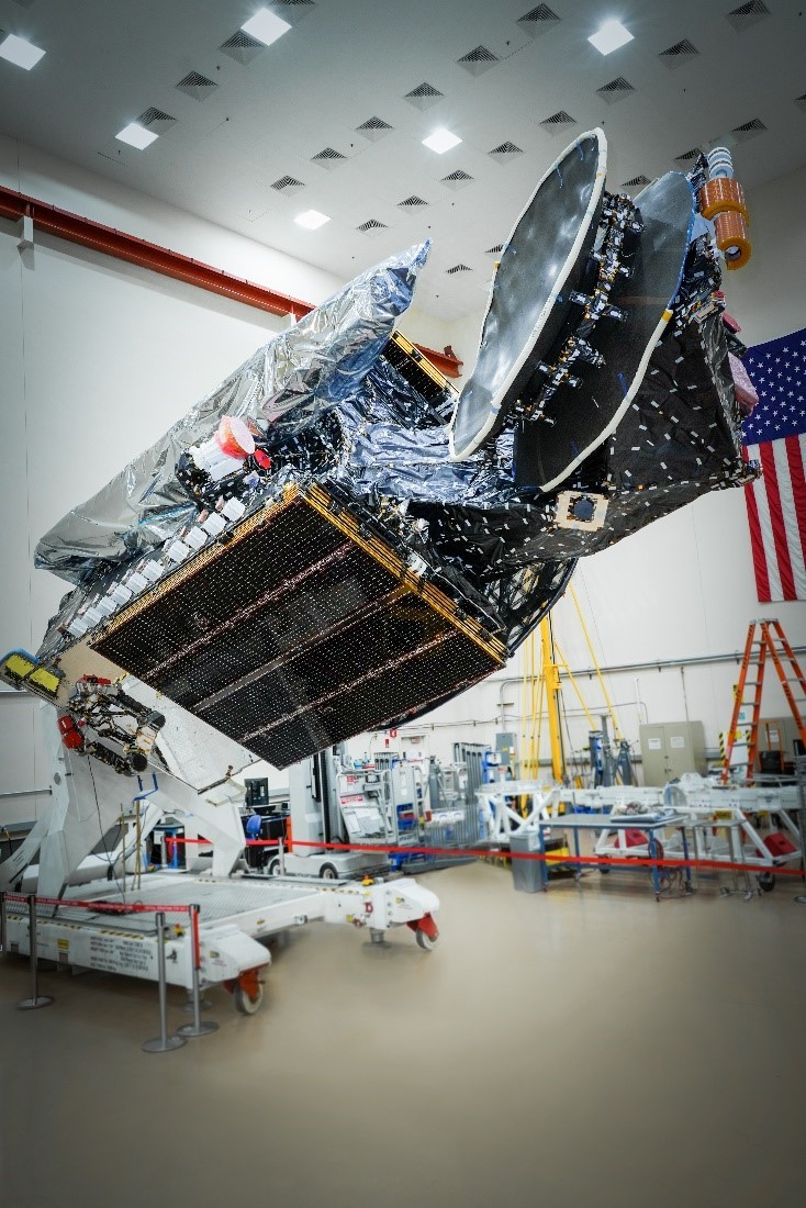 Maxar-built SXM-8 is positioned in full-flight configuration at Maxar's manufacturing facility in Palo Alto, California. Photo via Maxar Technologies.