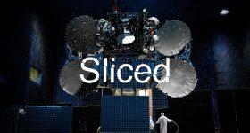 Sliced logo on a photo of a Maxar satellite. Photo via Maxar Technologies.