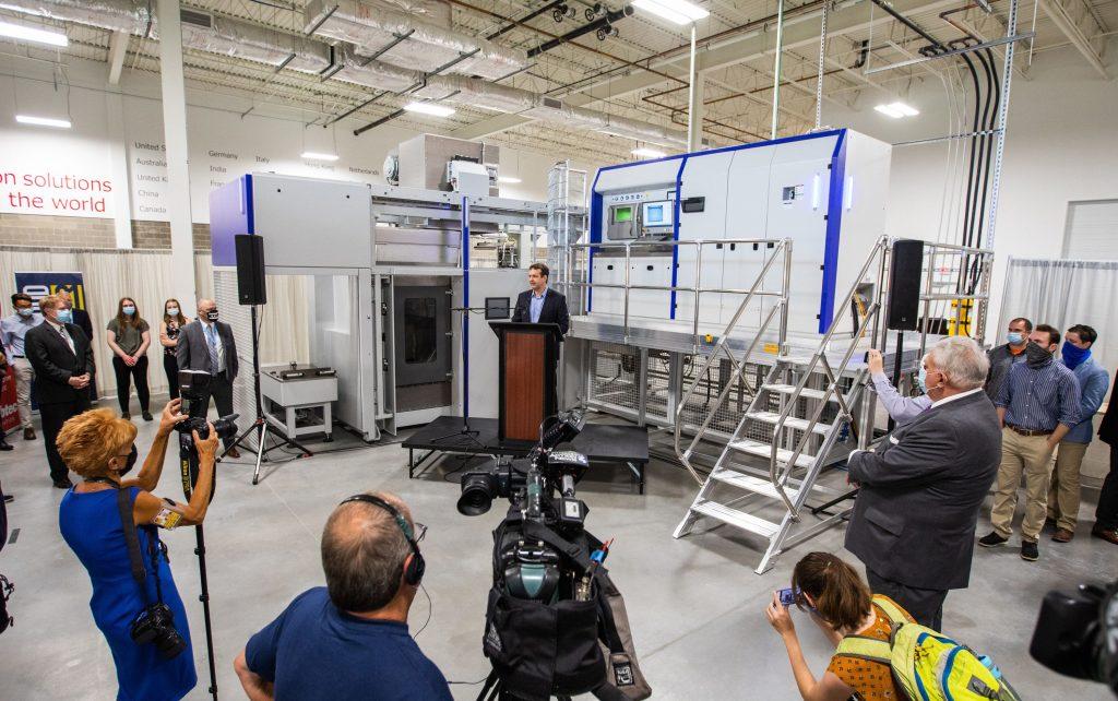 SLM Solutions' SLM 800 3D printer installed at Wabtec's Neighborhood 91 campus. Photo via Wabtec.