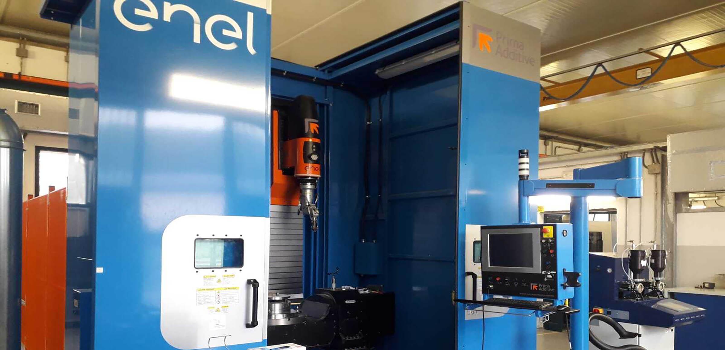 Enel's DED 3D printer housed at the Santa Barbara metallurgy lab. Photo via Enel Green Power.