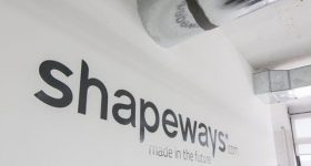 A Shapeways sign from inside its New York warehouse.