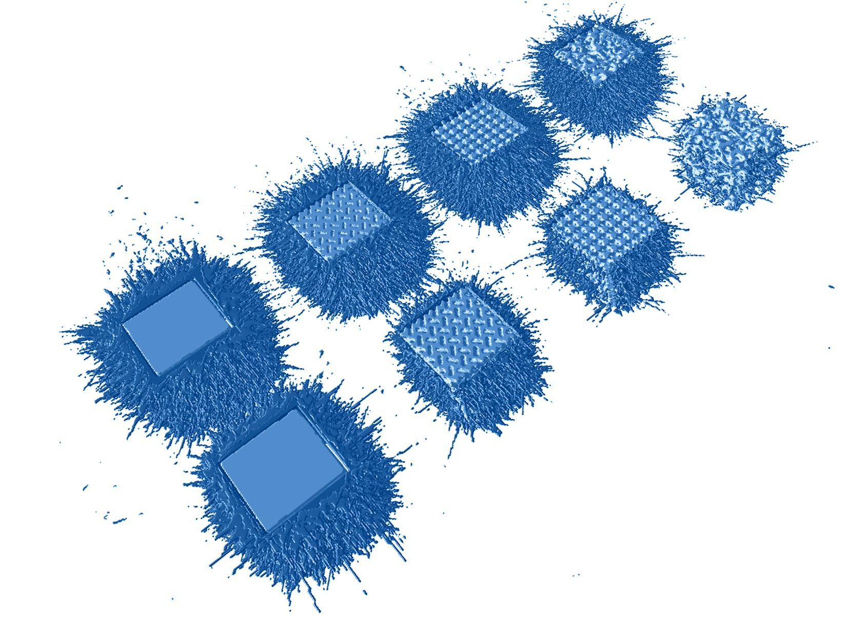 The spatter formation using Linde's novel argon-helium gas mixture in the print chamber. Image via Linde.