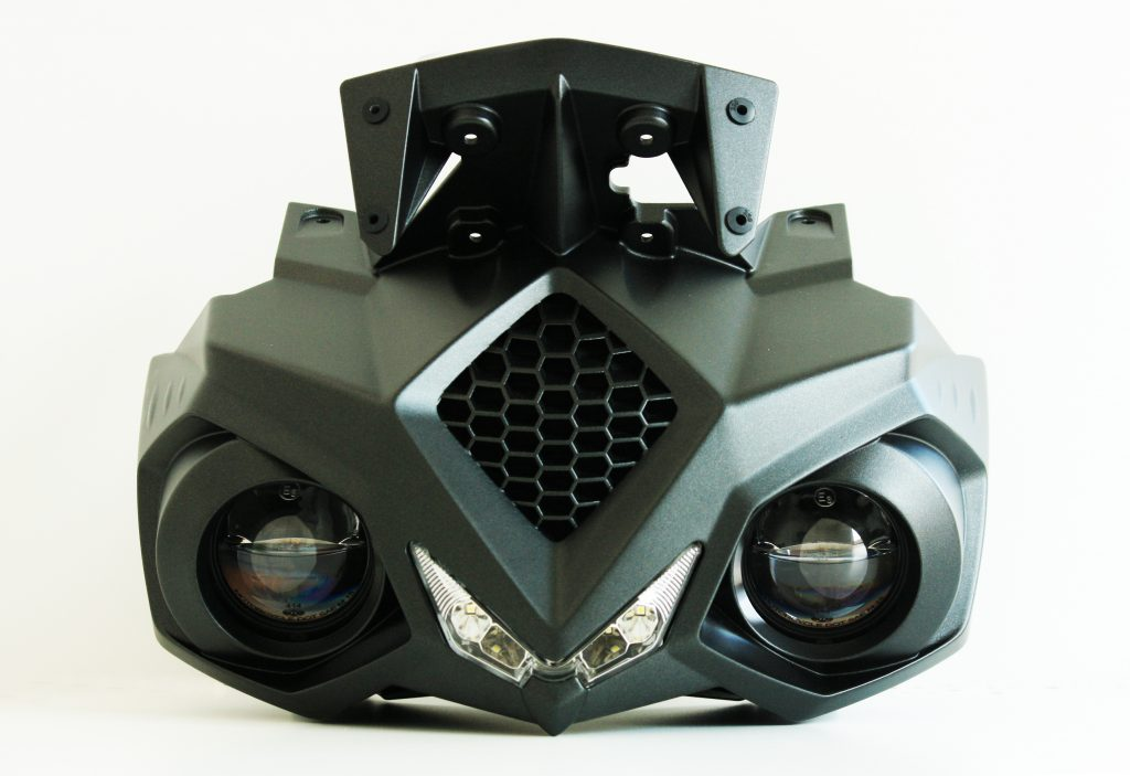 Electric motorbike front nose 3D printed by CRP Technology using Windform XT 2.0. Photo via CRP Technology.