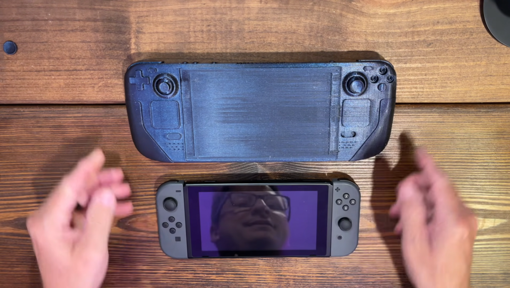 A size comparison with the Nintendo Switch. Photo via Handheld Obsession.