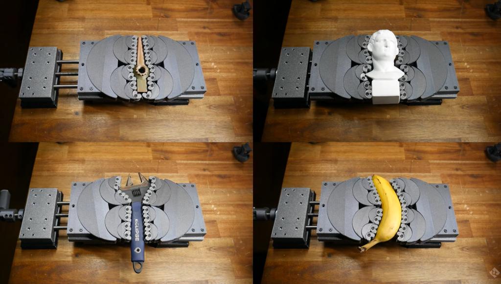 Clamping complex geometries using the 3D printed fractal vise. Photo via Teaching Tech.