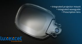 A 3D printed prescriptive lens integrated with a waveguide. Image via Luxexcel.