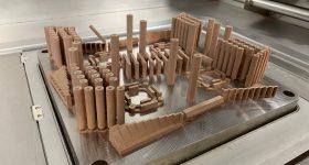 Copper parts 3D printed on an EOS M400-4 3D printer. Photo via Sintavia.