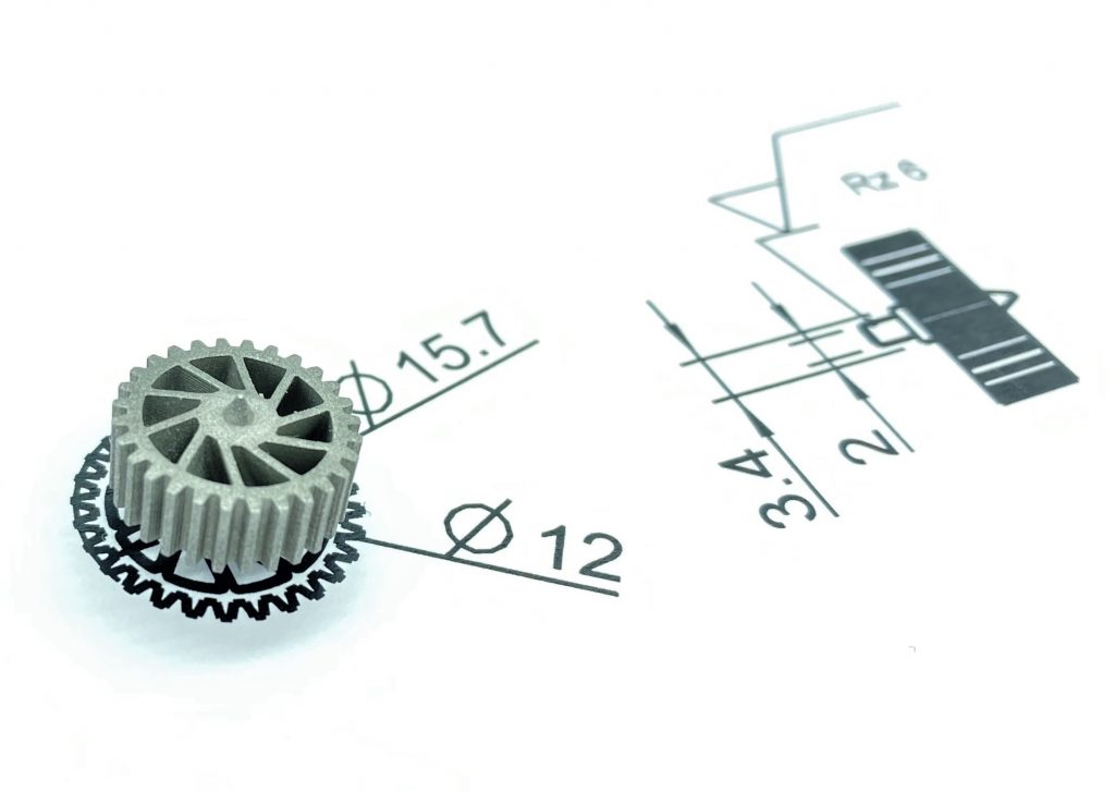 A high-precision gear 3D printed using MetShape's LMM 3D printing technology.