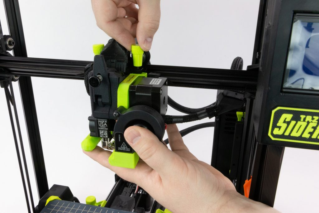 A LulzBot SideKick toolhead being fitted.