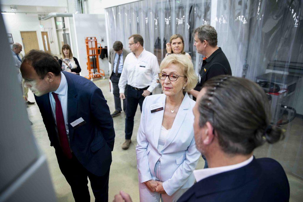 Kieron Salter (CEO) talks with Dame Andrea Leadsom and Greg Smith. Photo via DMC.