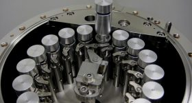 The sample chamber with sample holders. Photo via Airbus.