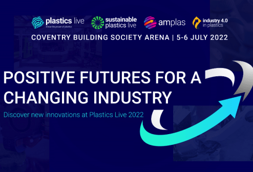 A graphic promoting the four sections of Plastics Live.