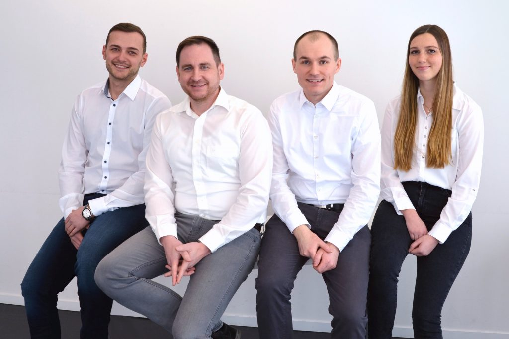 The MetShape team from left to right: Edgar Kintop, Dr. Andreas Baum, Maximilian Mungenast and Chiara Armbruster.