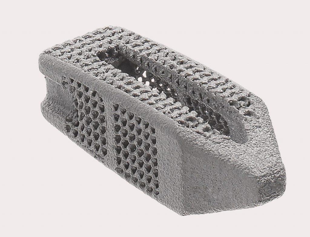 The 3D printed FORZA Ti PLIF Spacer System. Photo via Orthofix Medical.