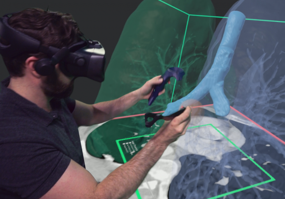A user tests Realize Medical's medical simulation software.