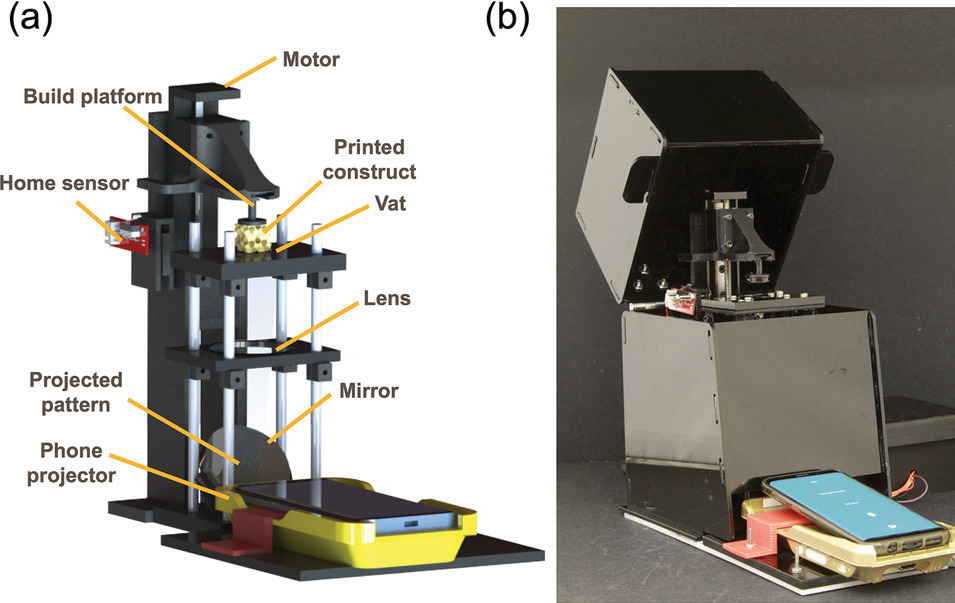 A diagram and photo of the researchers' phone-powered 3D printer.