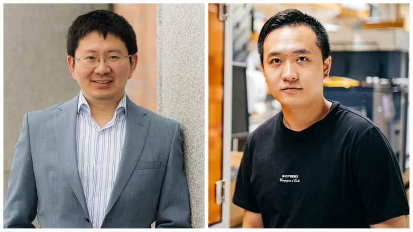 Chenfeng Ke (left) assistant professor of chemistry, and Qianming Lin (right) develop smart materials for 3D and 4D printing applications in the Ke Functional Materials Group. Photo via Eli Burakian/Robert Gill.
