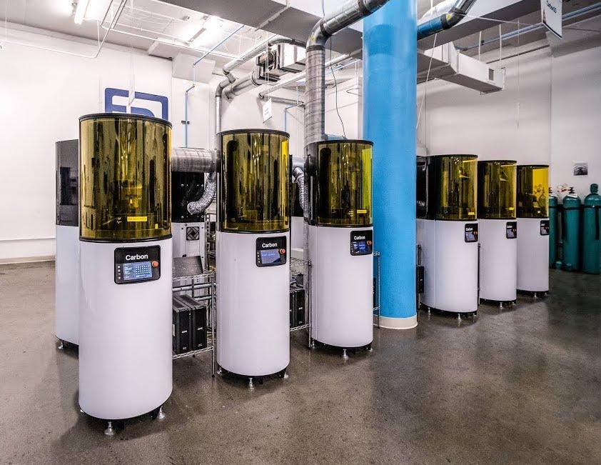 Carbon 3D printers installed inside one of Fast Radius' microfactories.