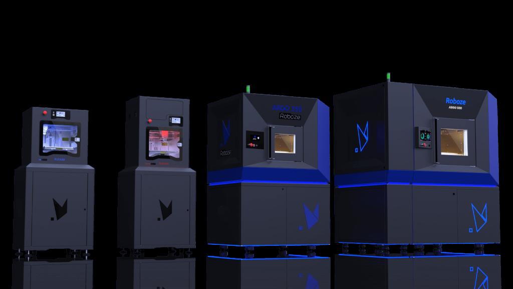 The Roboze portfolio of FFF 3D printers. Photo via Roboze.