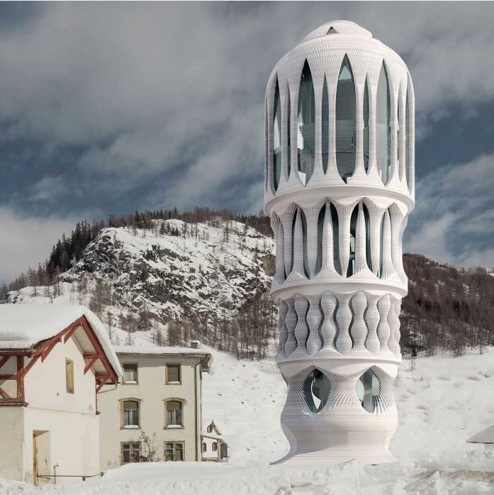 Render of the exterior view of the 3D printed White Tower in Mulegns. Image via Hansmeyer/Dillenburger.