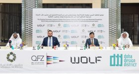 The ceremony announcing the partnership between QFZA, WOLF Group and Msheireb Properties was held in the Doha Design District. Photo via Qatar Free Zones.
