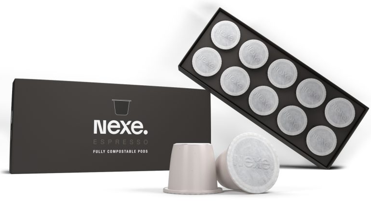 The compostable Nexe Pod is compatible with Nespresso machines. Photo via Nexe Innovations.