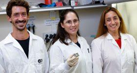 The research team from left: Eilam Yeini, Lena Neufeld and Prof. Satchi-Fainaro. Photo viaTel Aviv University.