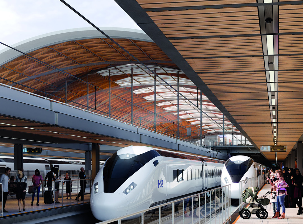 A concept image of trains at a HS2 station.