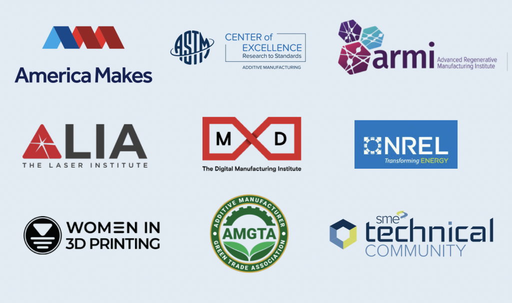 A graphic showing nine companies that are set to present at RAPID + TCT.