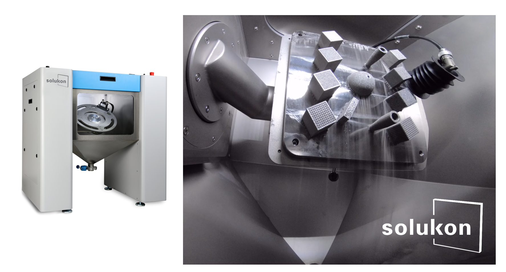 The SFM-AT200 depowdering system equipped with ultrasonic frequency excitation. Image via Solukon.