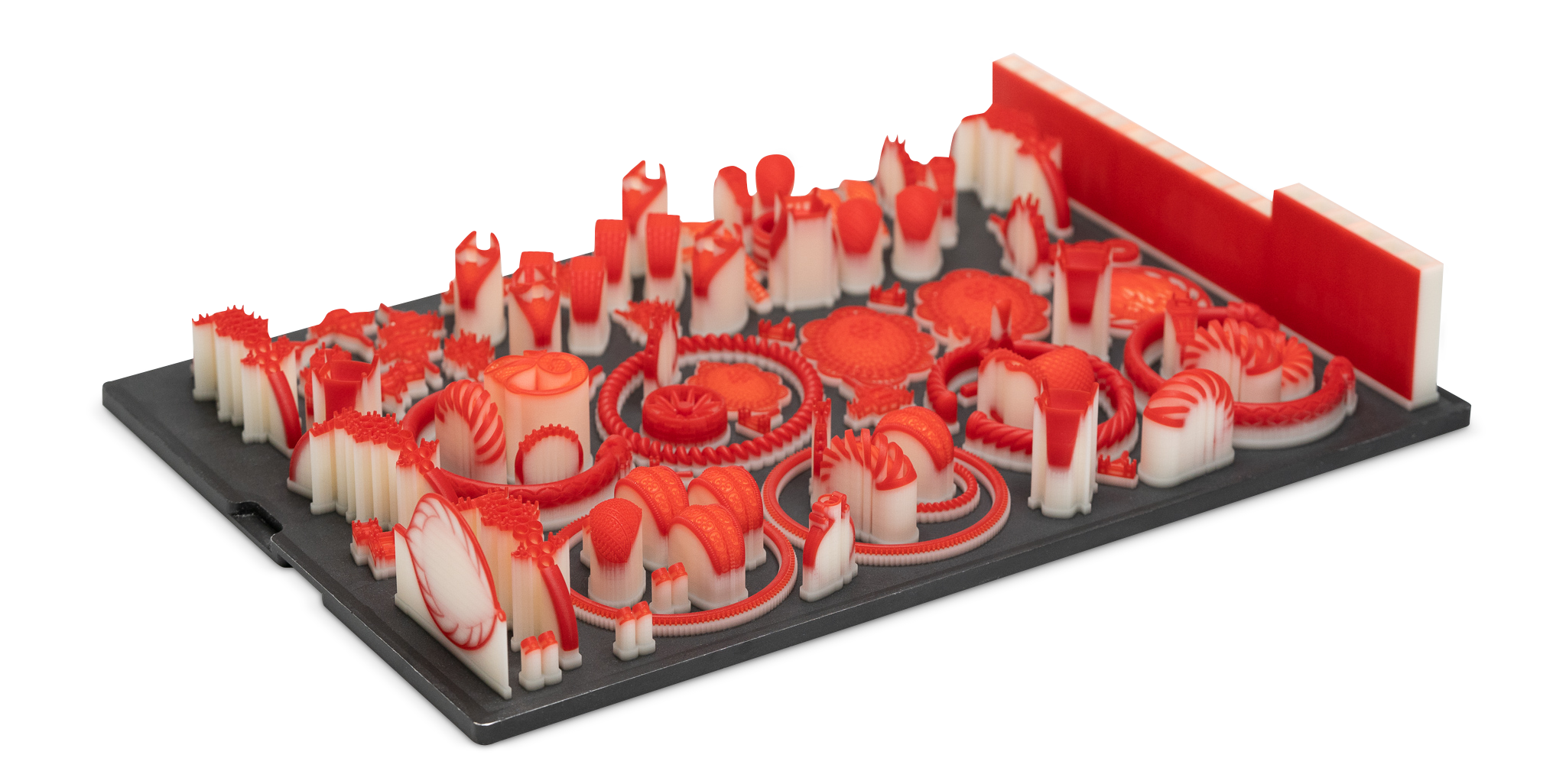 A jewelry making tray printed in VisitJet Wax Jewel Red.  Photo via 3D systems.