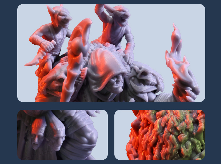 Figurines 3D printed by Archvillain Games Collections studio using the HALOT-LITE.