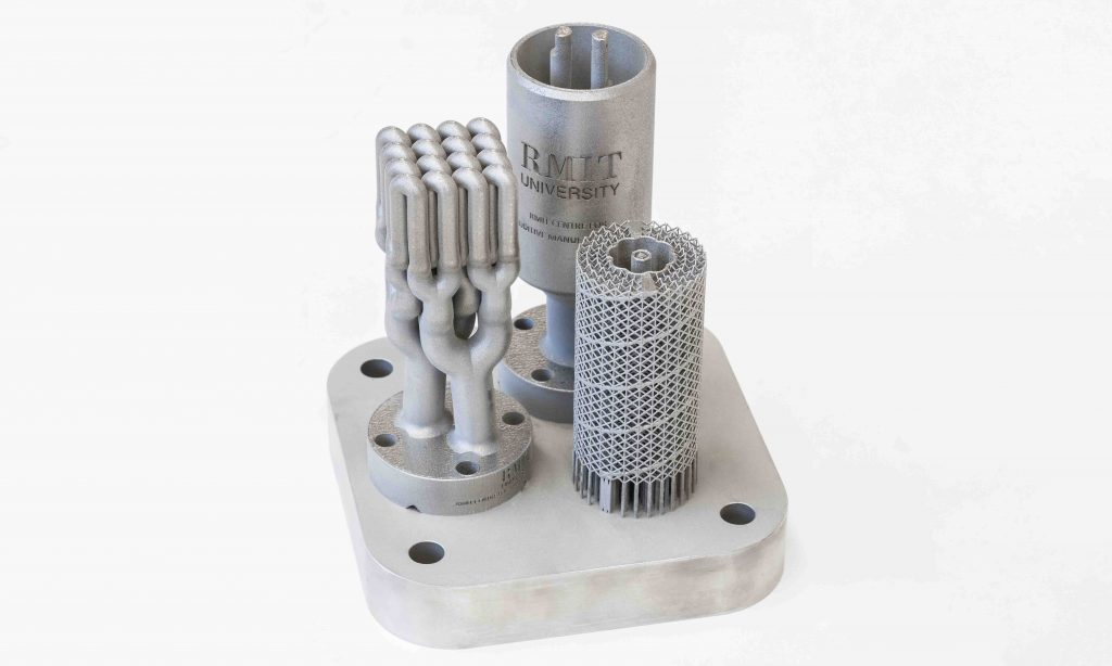A range of experimental designs for the 3D printed catalysts. Photo via RMIT University.