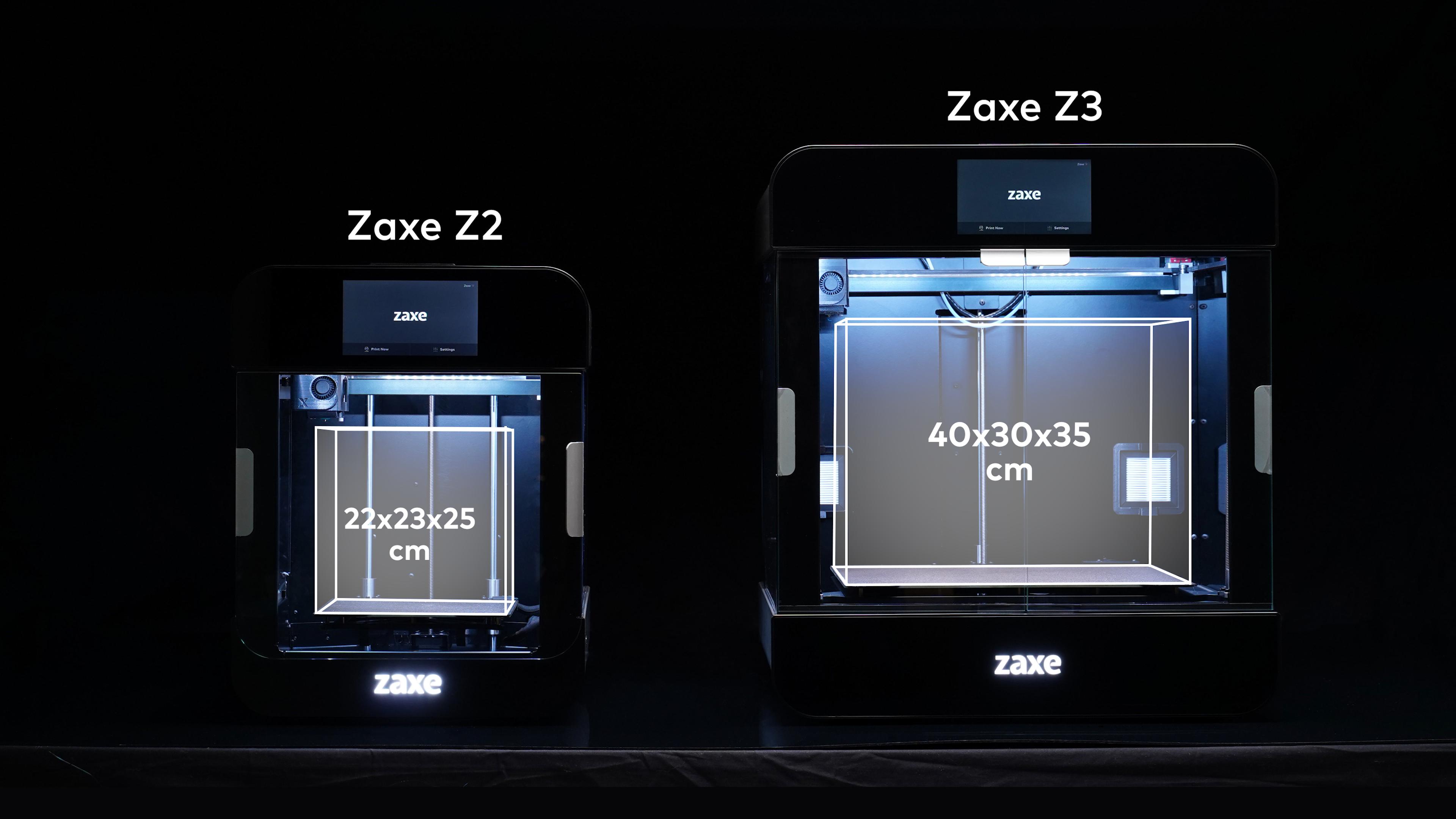 The Zaxe Z2 and the larger volume Z3 3D printers. Image via Zaxe.