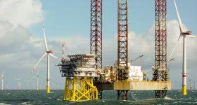 An off-shore wind farm in the North Sea.
