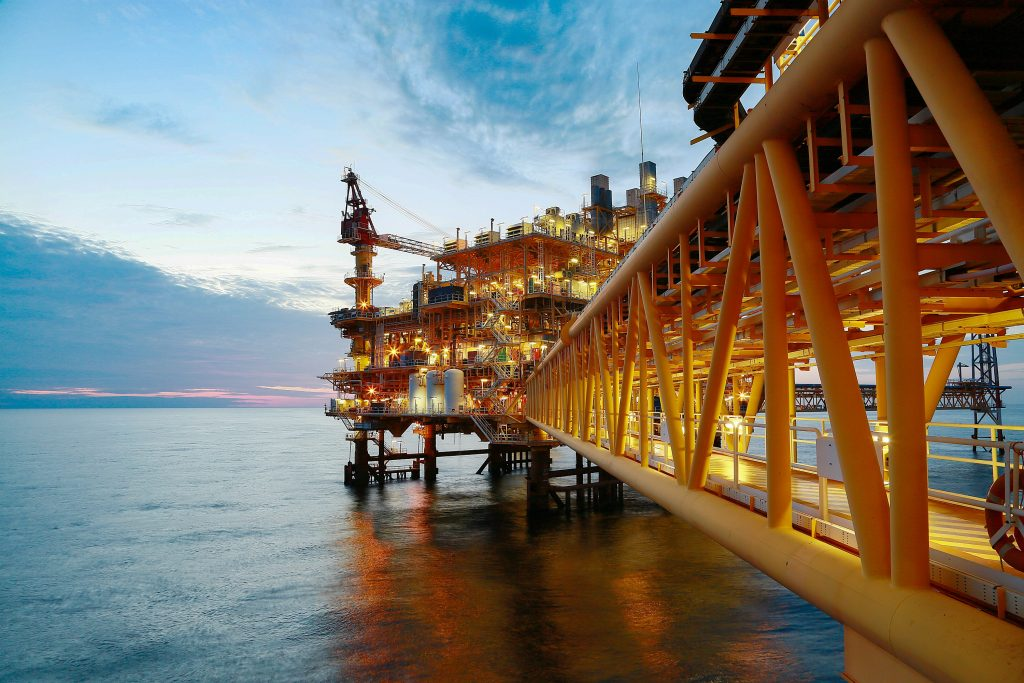 An off-shore construction platform for production oil and gas.