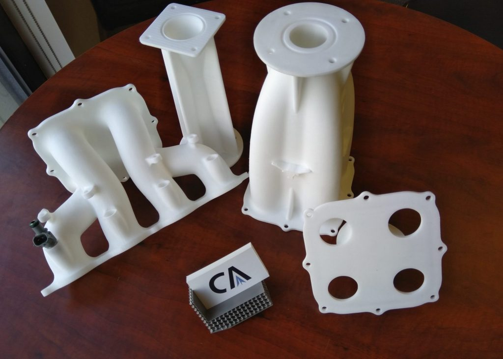 A set of 3D printed parts ordered by Cumberland Additive customers.