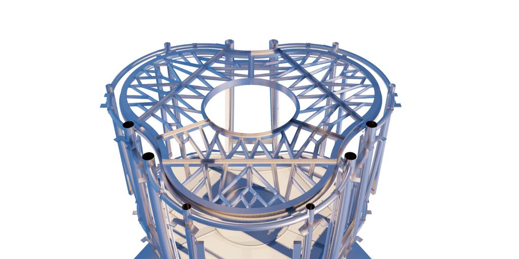 A 3D model showing the web-like design of MX3D's 3D printed lunar floor.