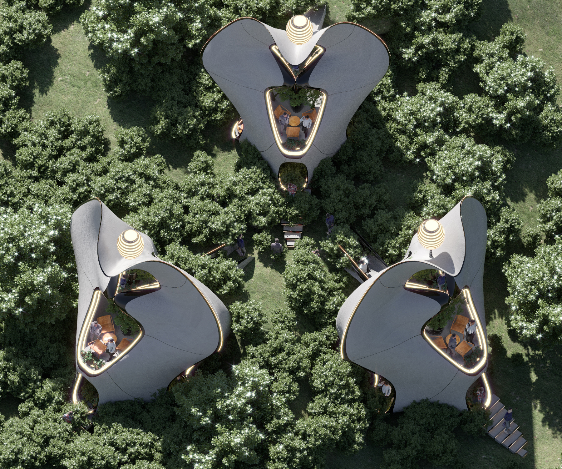 A birds-eye view of what the WAAM 3D printed steel homes could look like. Image via MASK Architects.