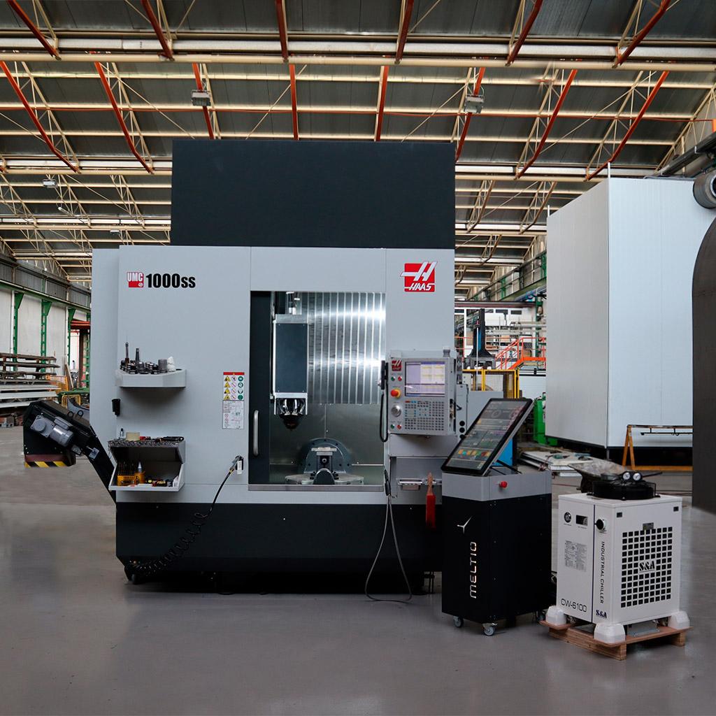 The Meltio Engine CNC integration into the Haas UMC-1000SS. Photo via Meltio.