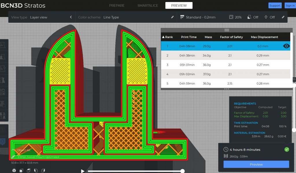 A screenshot taken from SmartSlice for BCN3D.